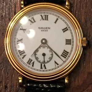 Gruen Swiss Sapphire Crystal 18k Plated Watch